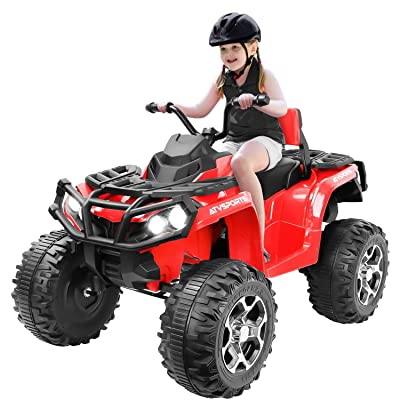 angstep Electric Kids ATV, 12V Battery Powered Kids 4-Wheeler ATV Quad, Electric 4-Wheeler for Kids with LED Headlights, Music and MP3, High/Low Speed Red: Toys & Games