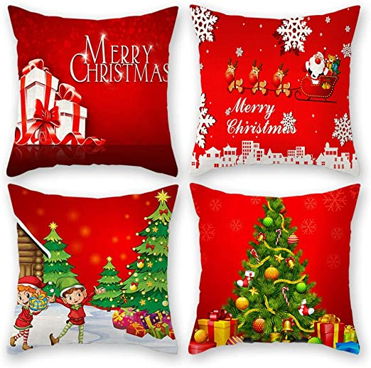 Merry Christmas White Silky Softy Cushion Cover Gift Xmas Festive Home Decor Red