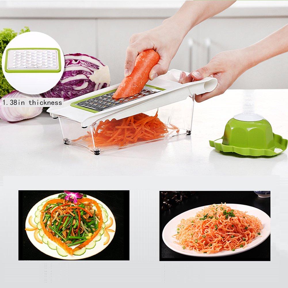 Mandoline Slicer and Dicer Kitchen Vegetable Slicer with 5 Interchangeable Stainless Steel Blades Food Fruit Julienne Slicer Cutter Chopper Dishwasher Safe by Mandoline Slicer (Image #2)