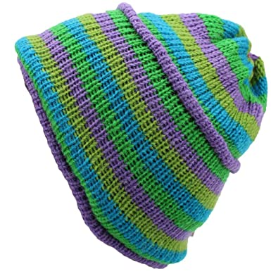 d06a01669 Wool Knit Beanie HAT Fleece Lined Lilac Green Blue Stripes: Amazon ...