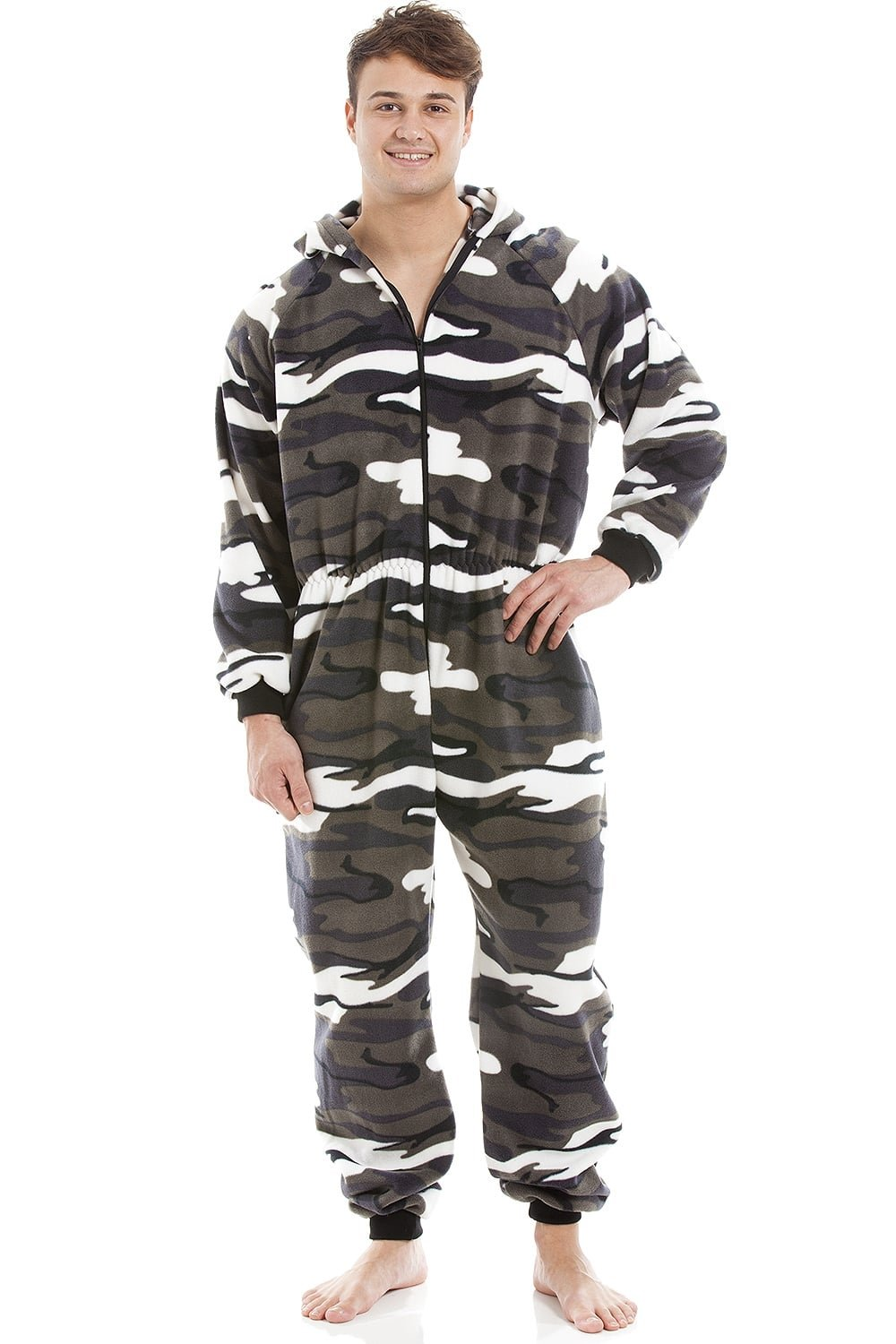 Camille Mens Snow Camouflage Supersoft Fleece Zip Front Hooded Onesie