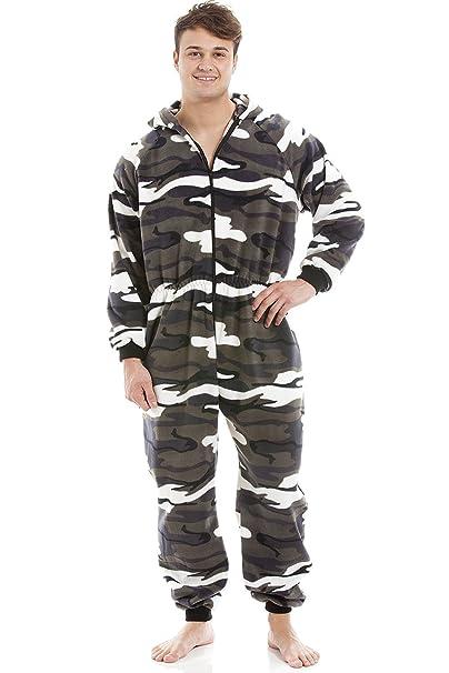 Pijama de una pieza para hombre - Forro polar suave - Con capucha y cremallera frontal - Estampado de camuflaje de nieve: Amazon.es: Ropa y accesorios