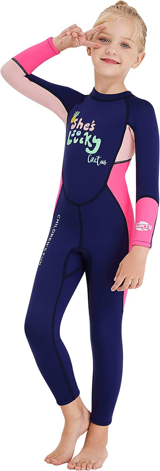 AceAcr Kids Wetsuit 2.5mm Thick Diving Suit Thermal Warm with Sun Protection Swimwear