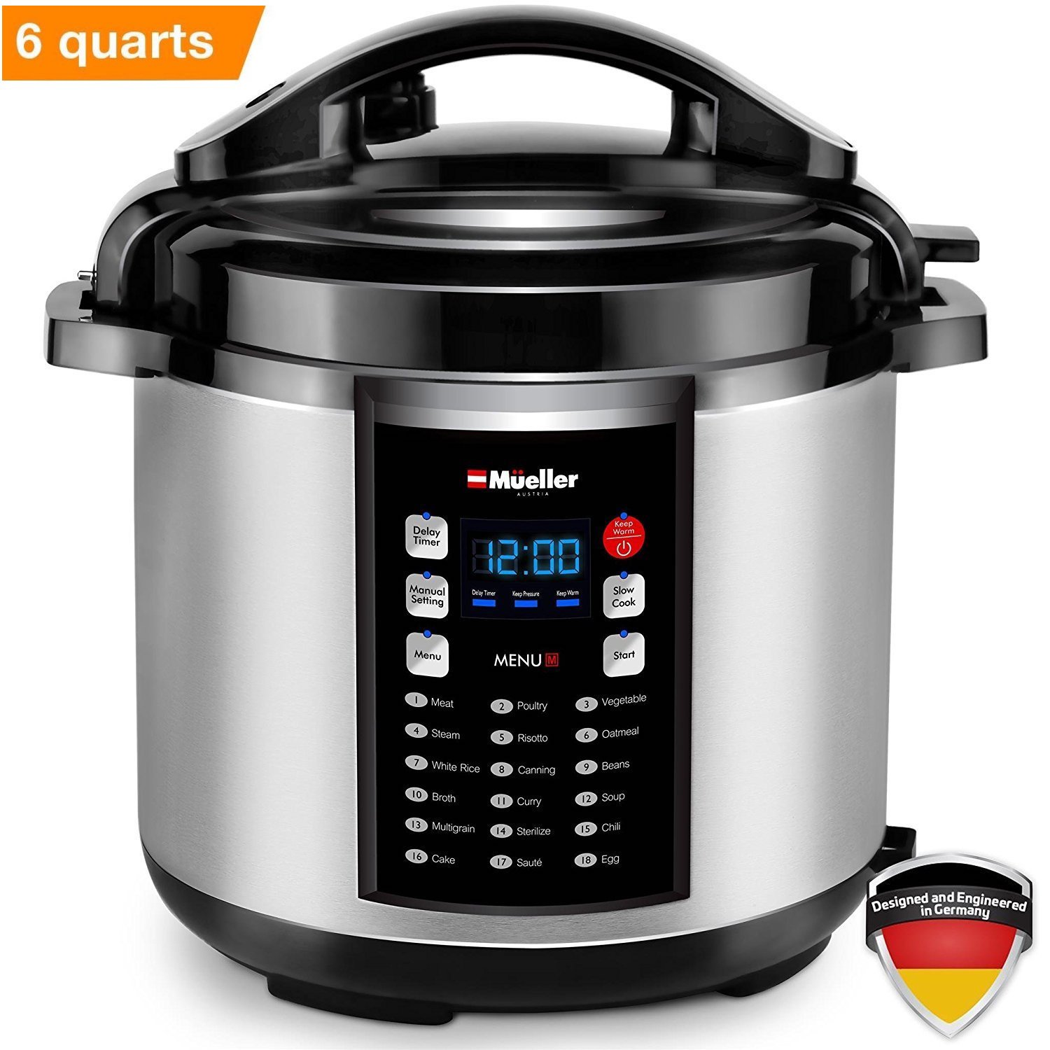 Mueller 10-in1 Pro Series 18 Smart Program Pressure Cooker | German ThermaV Even Heat Technology | 6Q/1000W Slow Cooker | Rice Cooker, Yogurt Maker, Cake Maker, Egg Cooker, Sauté, Steamer, Warmer