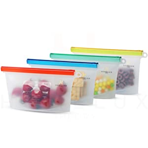 Homelux Theory Reusable Silicone Food Storage Bags | Sandwich, Sous Vide, Liquid, Snack, Lunch, Fruit, Freezer Airtight Seal | BEST for preserving and cooking | (4 Small)