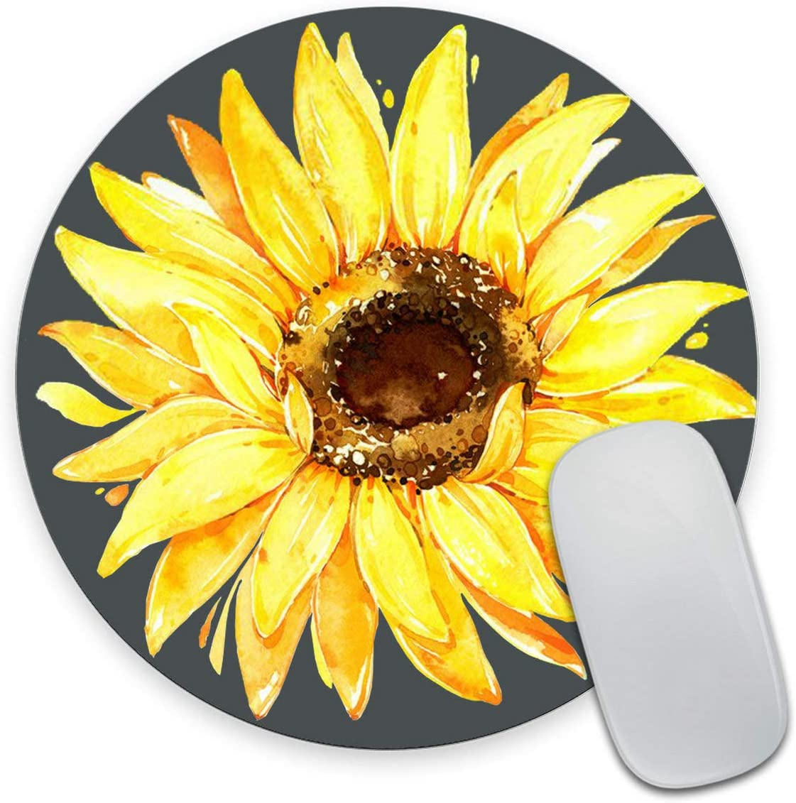 Smooffly Sunflower Mouse pad Mousepad Watercolor Floral Desk Decor Mouse Pads Round Mouse pad Sunflower