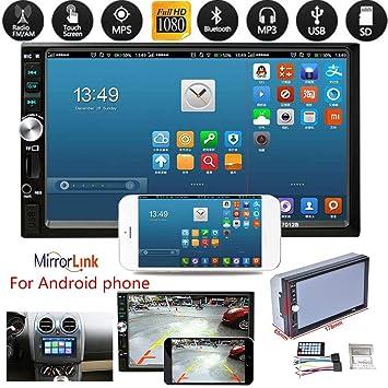 Plzlm 2Din 7012B MP5 Reproductor MP3 Radio FM estéreo del Coche Audio Música USB Bluetooth de Pantalla táctil Digital de Entrada AUX Jugador: Amazon.es: ...