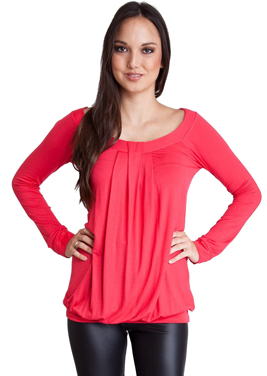 Woman Red Pleated Front Back Detail Banded Hem Long Sleeve Top