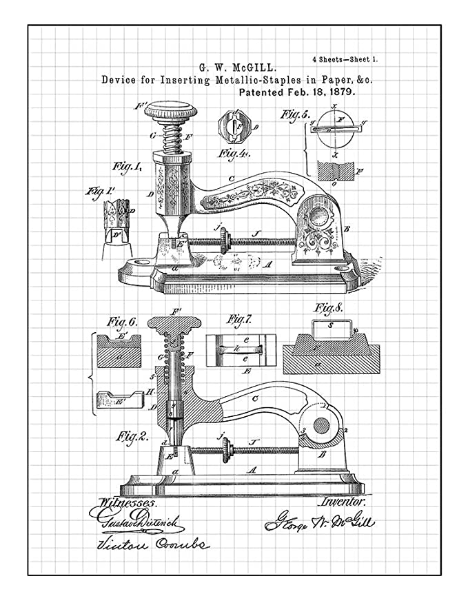Amazon Com Stapler Patent Print Art Poster Blue Grid 8 X 10
