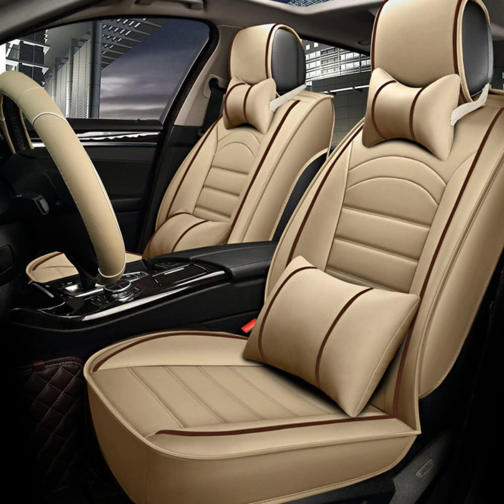 ANKIV 2pcs Universal Fit 3D Surrounded Luxury Waterproof Pu Leather and Breathable Artificial Silk Car Seat Covers Trims with Fixed Lumbar Pillows for Sedan SUV Front 2pcs Brown