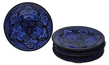 Moroccan Ceramic Plates Handmade Appetizer Tapas Serving Set Of Four Blue  sc 1 st  Amazon.com & Amazon.com   Moroccan Ceramic Plates Handmade Appetizer Tapas ...