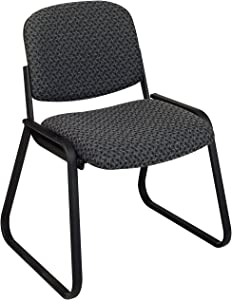 Office Star Deluxe Sled Base Fabric Visitors Chair with Designer Plastic Shell Back, Charcoal