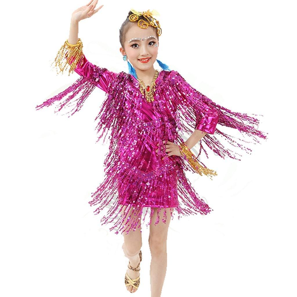 Rose rouge Wgwioo Enfant Ensemble de Danse Tenue de Danse Latine Costume Fille de l'Inde Sequins Tassel Rendez-Vous pour Enfants équipe de Groupe d'étudiants Professionnels XL