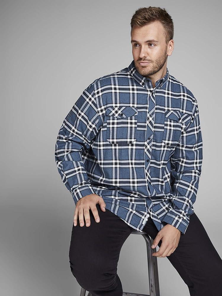 Jack & Jones Jcoel Paso Shirt L/s Worker Plus Camisa, Multicolor (Sky Captain Fit: Big and Tall), XXXX-Large para Hombre: Amazon.es: Ropa y accesorios