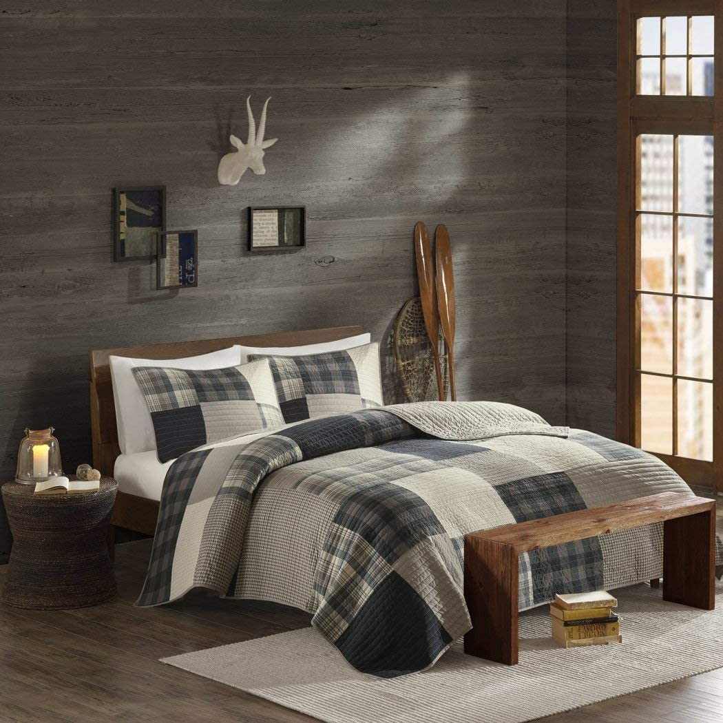 3 Piece Light Grey Brown Plaid Quilt Full Queen Set, Madras Tartan Lumberjack Pattern Cabin Bedding Lodge Patchwork Gray Solid Color Hunting Themed Cottage Beige, Cotton