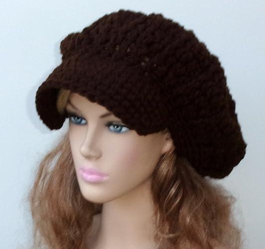 c1c0382ecd2 Amazon.com  HANDMADE Coffee brown Newsboy hat