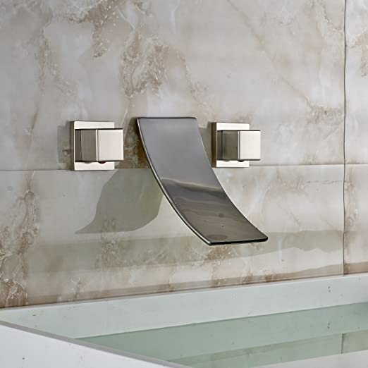 Oulantron Wall Mount 3 Holes Waterfall Sink Faucet Dual Knobs Tub ...