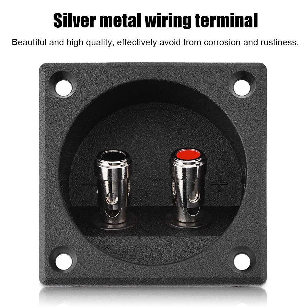 Tihebeyan Speaker Binding Post Terminal Box Square Spring Cup Connector 2 Binding Spring Post Cable Subwoofer Plug for DIY Home Car Stereo
