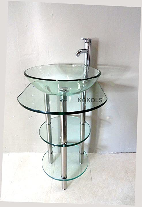 Pedestal Glass Vanity Stand with Glass Shelves & Faucet - Bathroom ...