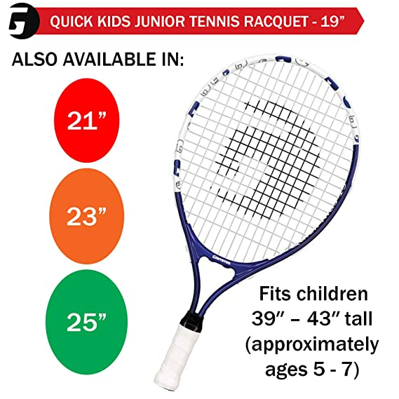 Buy Gamma Sports Junior Tennis Racquet Quick Kids 19 Inch Tennis Racket Prestrung Youth Tennis Racquets For Boys And Girls 93 Inch Head Size Blue Online At Low Prices In India Amazon In
