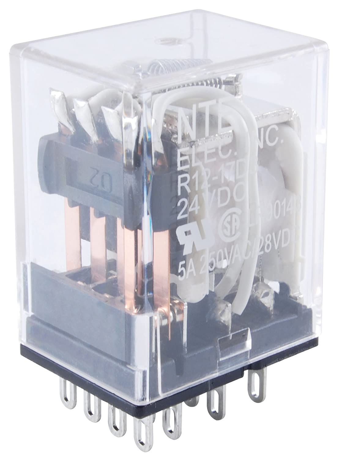 5 Amp NTE Electronics R12-14A5-24 Series R12 General Purpose AC Relay 24 VAC 3PDT Contact Arrangement