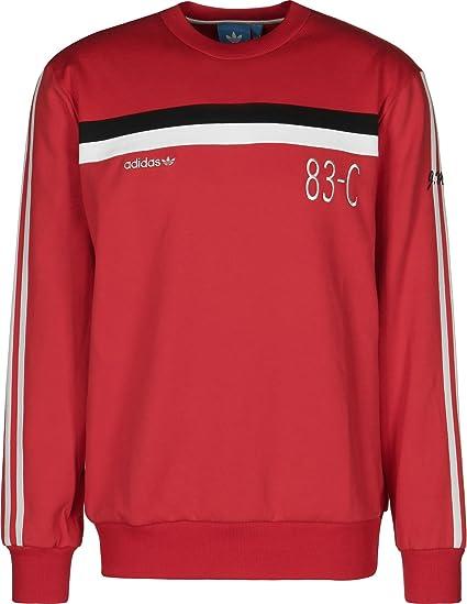 6ac9517a052 adidas Originals Mens Trefoil 83-C Retro Crew Neck Jumper - Red - M ...