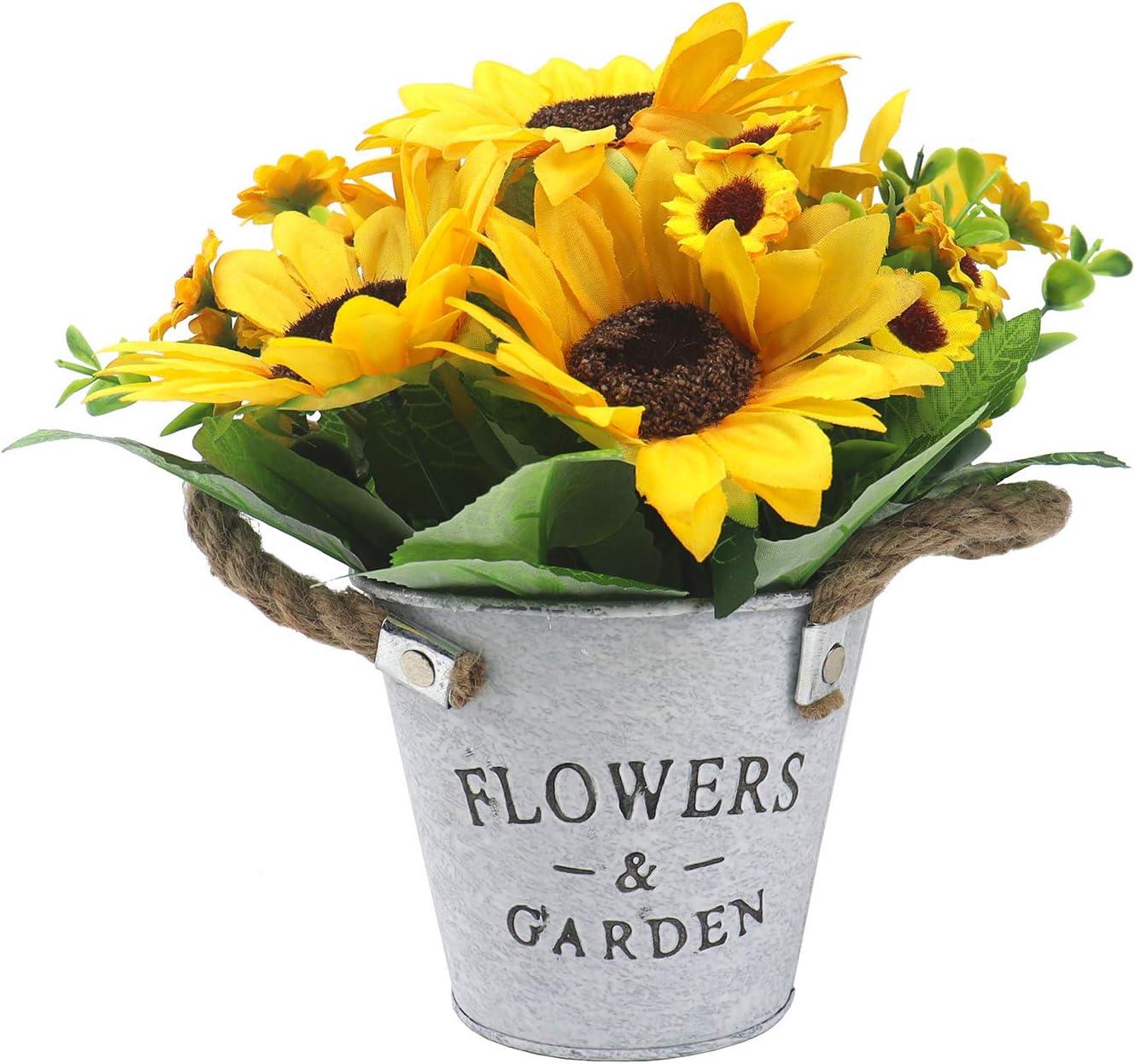 UIKKOT Artificial Flowers with Pot European Style Design Metal Vase Silk Sunflower Arrangements Small Bonsai Centerpieces Decor House Office Restaurant Table (Sunflower Yellow)