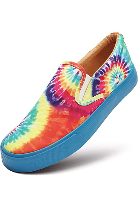 Colorful Trippy Leaf Classic Women Canvas Slip-Ons Loafer Shoes Sneaker