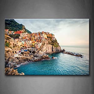 Firstwallart Manarola Sea Mediterranean Wall Art Painting Pictures Print On Canvas City The Picture for Home Modern Decoration