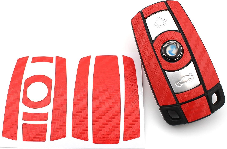 Finest Folia Schlüssel Folie K141 Für 3 Tasten Auto Schlüssel Nur Keyless Go Folien Cover Rot Carbon Auto