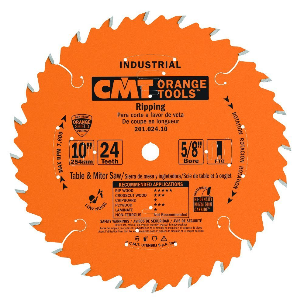 CMT 201.024.10 Industrial Ripping Saw Blade, 10-Inch. x 24 Teeth FTG Grind with 5/8-Inch. Bore, PTFE Coating by CMT