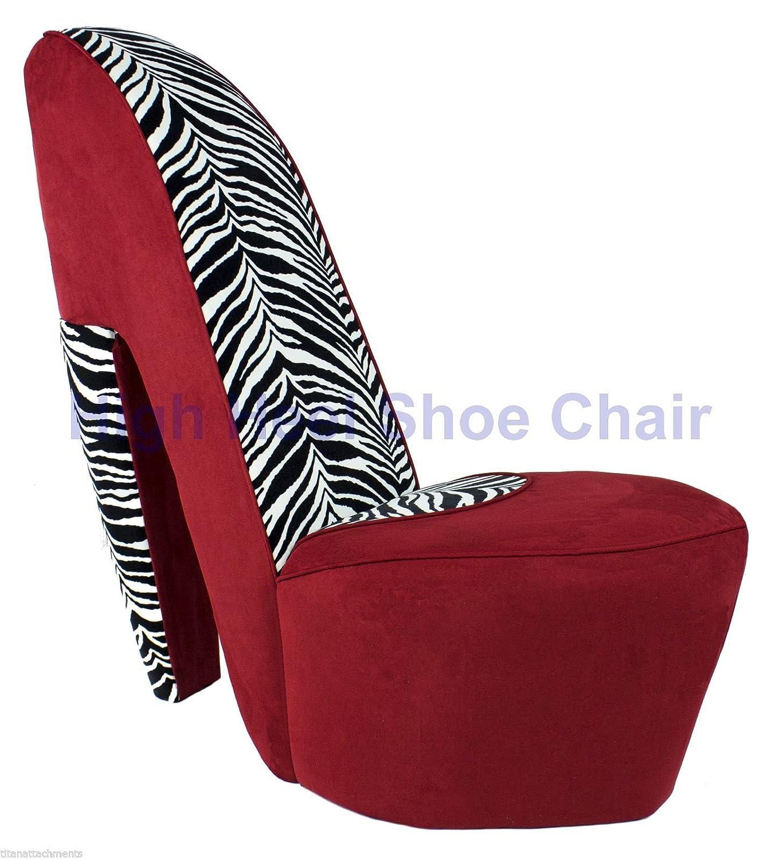 Amazoncom Full Size Red Zebra High Heel Shoe Chair diva