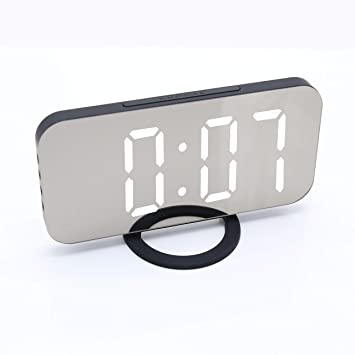 JCH Reloj de Escritorio en Superficie del Espejo, Pantalla LED Grande de 6.5