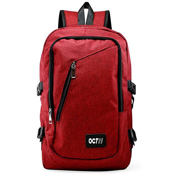 "Review Oct17 Business Laptop Backpack, Slim Anti Theft Computer Bag, Water-resistent College School Backpack Headphone Port, Travel Shoulder Bag USB Charging Port Fits UNDER 17"" Laptop & Notebook - Red"