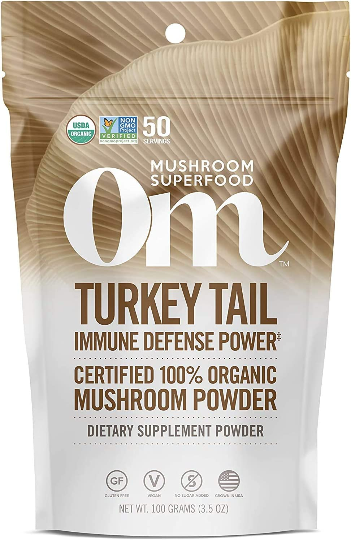 Om Organic Mushroom Superfood Powder, Turkey Tail, 3.5 Ounce (50 Servings), Immune Support, Gut Health & Holistic Defense Supplement