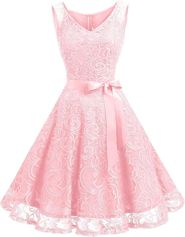 TALLA L. Dressystar Vestido Corto Elegante Mujer De Encaje Sin Mangas con Lazo para Madrina Fietsa Pink