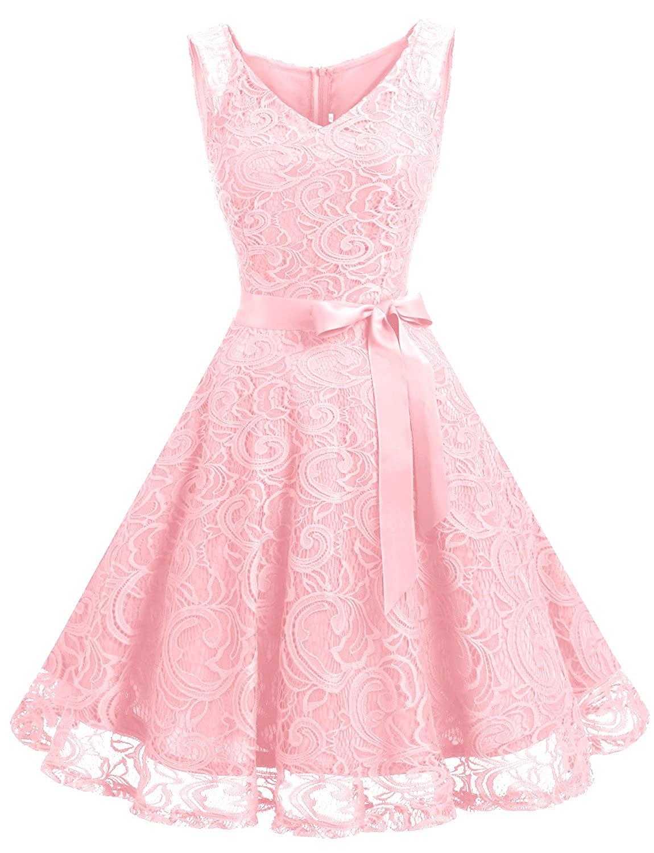 TALLA XL. Dressystar Vestido Corto Elegante Mujer De Encaje Sin Mangas con Lazo para Madrina Fietsa Pink XL