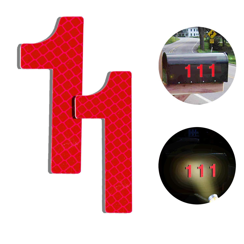 7cm Selbstklebende Hausnummer 2er Pack Klebend Hausnummer Schild zum Aufkleben f/ür Briefkasten//Mailbox//Wand//Stra/ßen und T/ür Reflektierende Hausnummer 6 aus Edelstahl