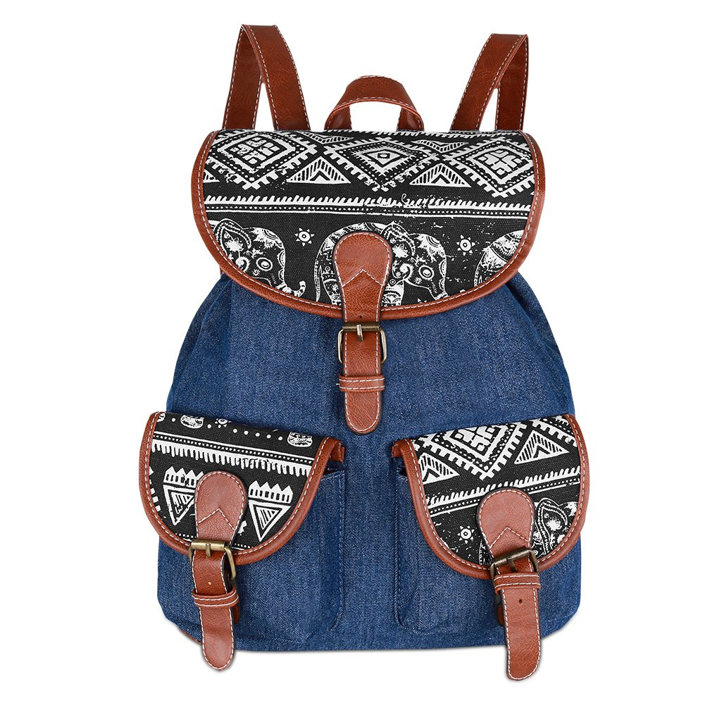 Vbiger Canvas Backpack for Women & Girls Boys Casual Book Bag Sports Daypack (Elephant Black1) by VBIGER (Image #2)