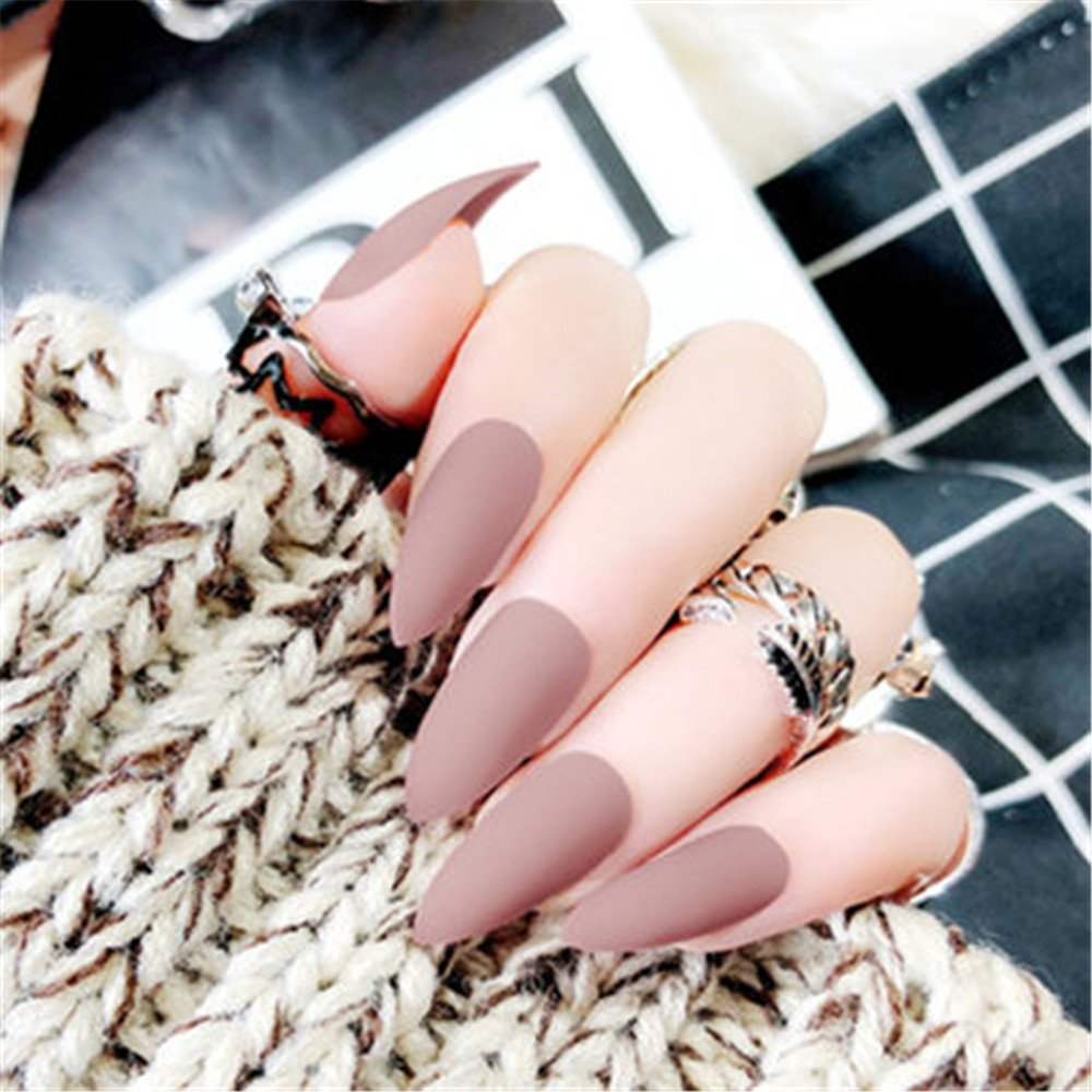 Amazon.com : BloomingBoom 24 Pcs 12 Size Stiletto Pointed False Nail Matte Full Cover Fake Nail Press on Salon Pre Design Women Claw Mountain Peak Mist ...