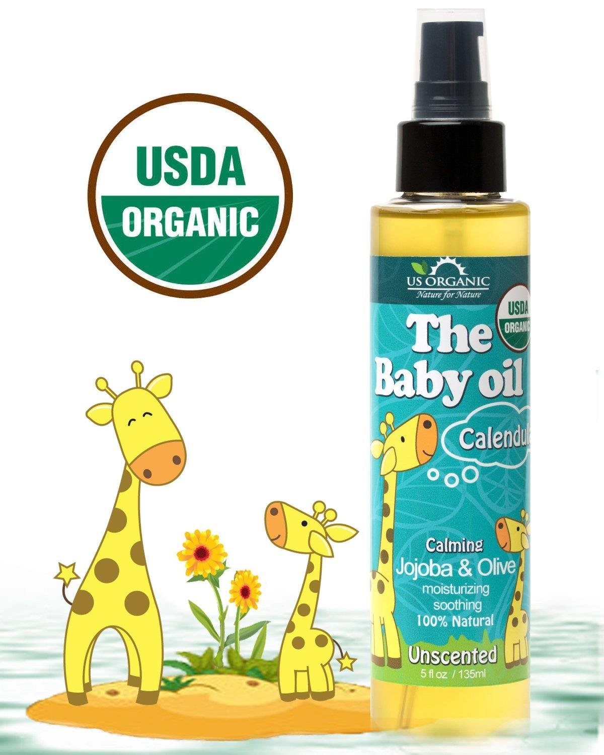 US Organic Baby Oil with Calendula, Uncsented - Jojoba and Olive Oil with Vitamin E, USDA Certified Organic, 5 Ounce by US Organic   B00NUTETI2