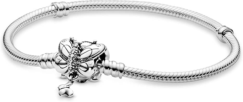 Pandora Jewelry Moments Butterfly Clasp Snake Chain Cubic Zirconia Bracelet  in Sterling Silver