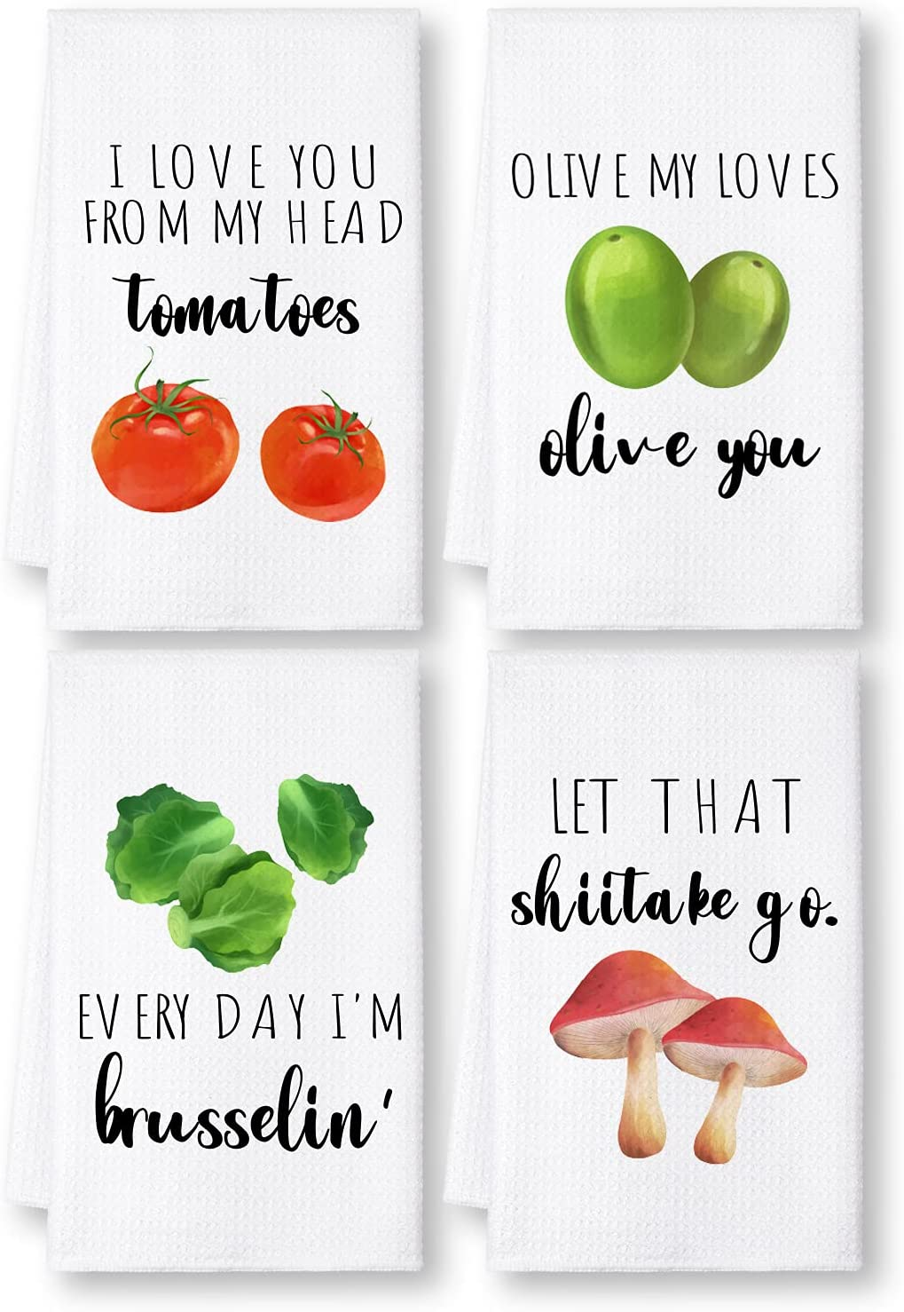 TASRUIMI Funny Kitchen Towels Set of 4 - Funny Kitchen Dish Towels - Kitchen Decor - Housewarming Gifts - Fun Hostess Gifts - Gifts for Bridal Shower, Wedding Shower