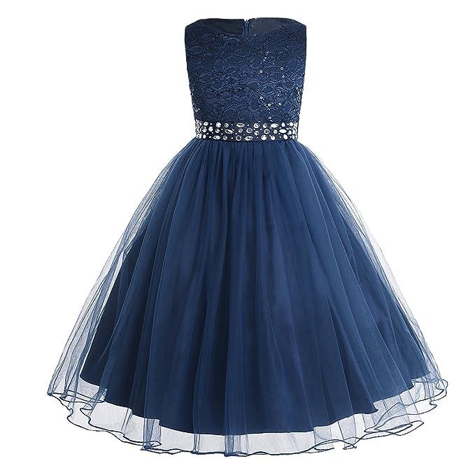 iEFiEL Vestido de Princesa para Niña Traje de Ceremonia Vestido de Boda Fiesta Bautizo Vestido Flores