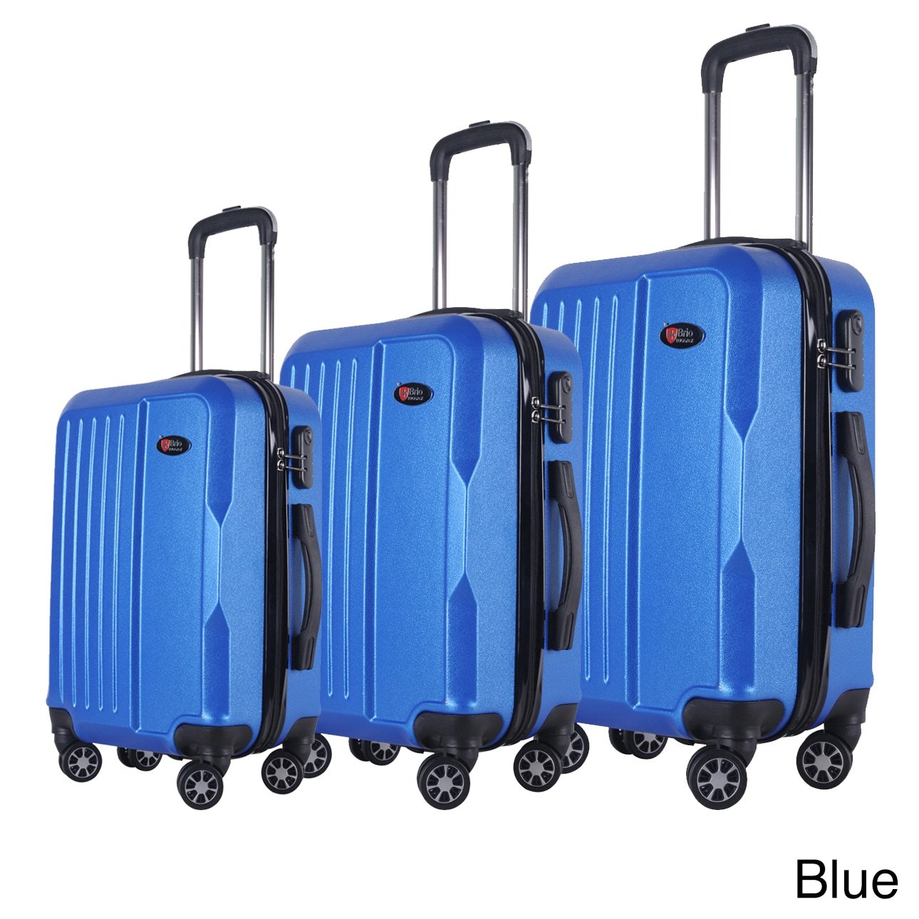 BRIO Luggage 3-piece Solid-colored ABS Hardside Spinner Luggage Set Blue Spinner, Expandable, Rolling