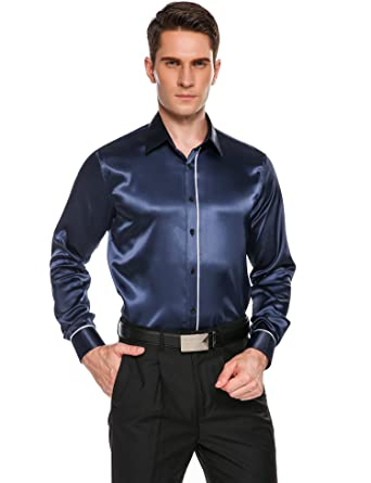 Coofandy Mens Party Dance Button Shirt Prom Satin Luxury Casual ...