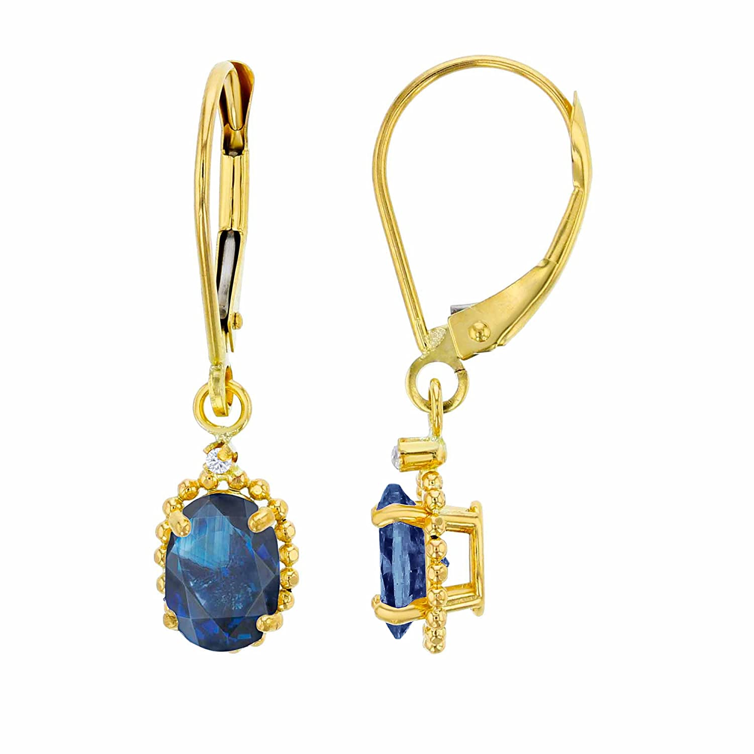 10K Yellow Gold 1.25mm Round White Topaz /& 6x4mm Oval Sapphire Bead Frame Drop Leverback Earring