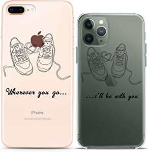 Cavka Matching Couple Cases Replacement for iPhone 12 Pro 5G Mini 11 Xs Max 6s 8 Plus 7 Xr 10 SE X 5 Lovely Quote Sneakers Drawing Best Friend Art Mate Teen Silicone Pair Cover Clear Girlfriend Gift