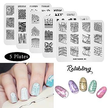Amazon Rolabling Nail Art Stamp Plate Manicure Diy Image