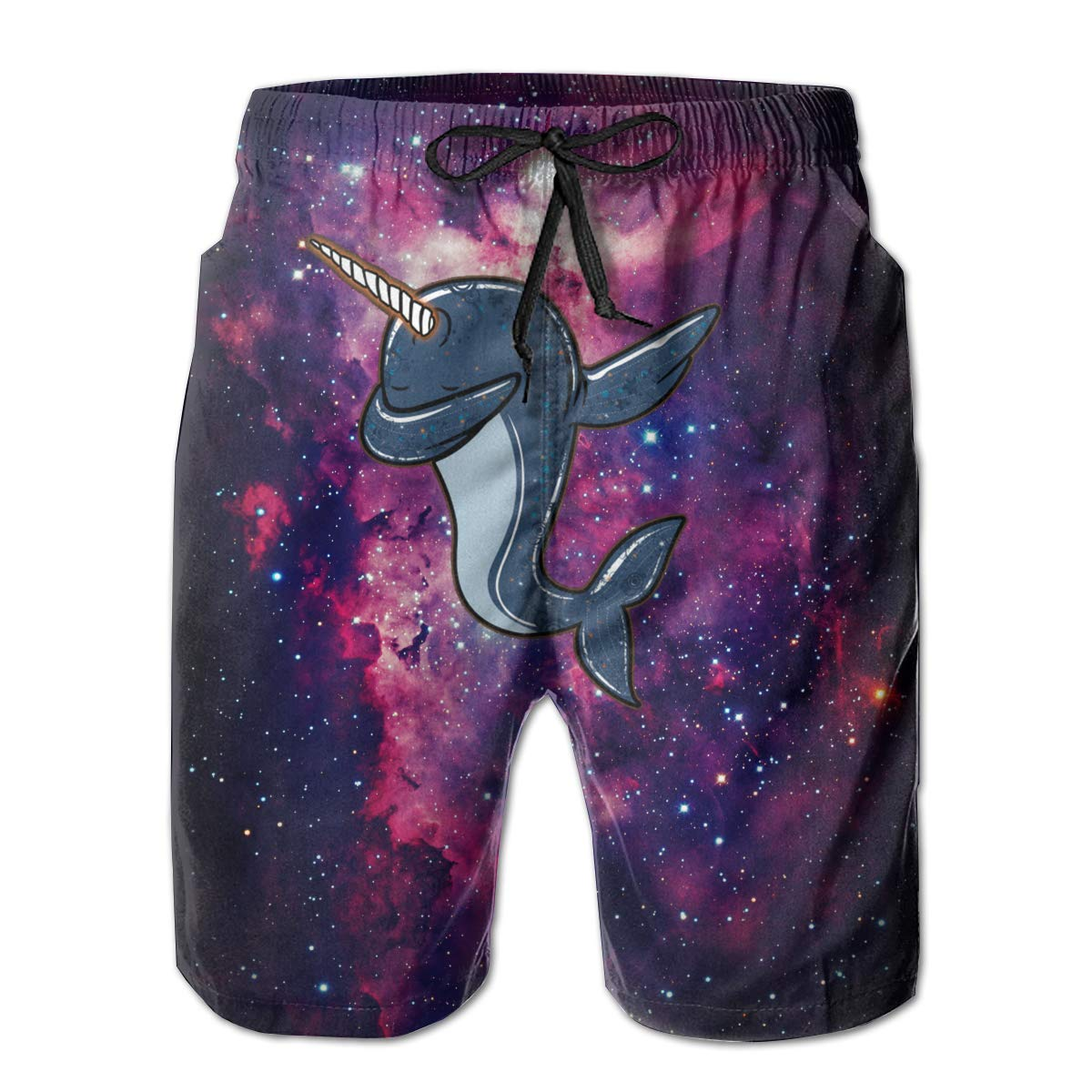 Eofjbg Fashion Mens Dabbing Narwhal Beach Shorts Board Shorts Casual Shorts Swim Trunks